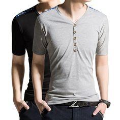 Shoulder Patchwork T Shirt. Material: Cotton, Polyester. Collar: V-neck. $19.99 unique-outfit.com