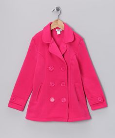 Take a look at this Fuchsia Double-Breasted Coat - Toddler & Girls by Littoe Potatoes on #zulily today!