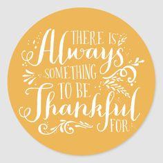 Be Thankful Script Mustard Thanksgiving Sticker | Zazzle.com