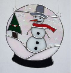 Stained Glass Snow Globe with Snow Man and by SusesStainedGlass