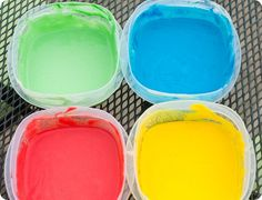 Baby finger paint: flour, water, food coloring