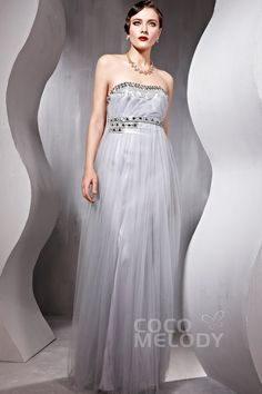 Strapless Empire Floor Length Tulle #Evening Dress #cocomelody