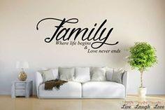 Vinyl Wall Art / Stickers -  Family - Where Life Begins Wall Art