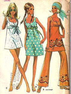Pattern for empire-waist mini-dress and bell-bottom pants, 1960's and 1970's fashion when I sewed my own clothes. 1970s, fashion, womenswear, style
