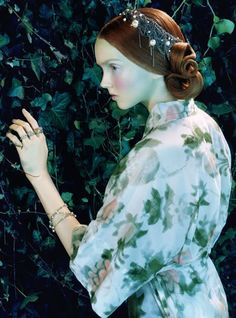 Lily Cole for Italian Vogue- headpiece, jewels and makeup