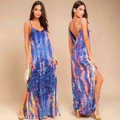 Trend Blue Stripe Long Dress With Side Slit & Handbag