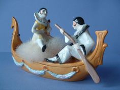 RARE Art Deco Porcelain Pierrot Pierrette Powder Puff Dish Half Doll Figurine Powder Puff Girls, Kitsch, Pierrot Clown, Cute Clown, Fine Porcelain, Painted Porcelain, Half Dolls, Flower Frog, Art Deco Era