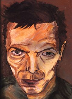 David Bowie, Self Portrait (ca. 1980) ( obviously influenced by Schiele.) so he knows he looks like that!!