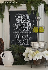 Christmas Gifts Ideas : Dear Lillie: Christmas Chalkboard and Our Family Room. Christmas decoration using a simple chalkboard and writing out a Bible verse from Isaiah in chalk or chalk pen. Christmas In July, All Things Christmas, Winter Christmas, Holiday Fun, Christmas Crafts, Merry Christmas, Christmas Decorations, Christmas Ideas, Christmas Design