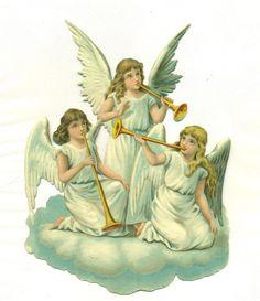 Llarge Victorian Scrap Angels   eBay