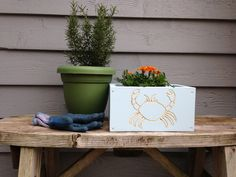 A personal favorite from my Etsy shop https://www.etsy.com/listing/230343436/hand-carved-flower-box-with-beach-crab