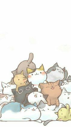 Wallpaper for cat lovers - background - # - Katzen - Cat Wallpaper Cute Cat Wallpaper, Kawaii Wallpaper, Cute Wallpaper Backgrounds, Cute Cartoon Wallpapers, Diy Wallpaper, Neko Atsume Wallpaper, Cat Phone Wallpaper, Cat Pattern Wallpaper, Cute Cat Drawing