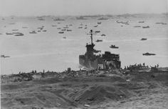 Unbelievable photo of USS LSM-238 unloading on an Iwo Jima Beach, some days after the Feb. 19, 1945 landings. The original World War II vintage photo caption reads: Japanese view of American Armada off Iwo Jima. The huge armada of U.S. Navy and U.S. Coast Guard-manned ships and landing craft which brought the Fourth and Fifth #Marine divisions as well as elements of the Third division to the next island in the chain stretching toward victory in Japan.  # NH 104212