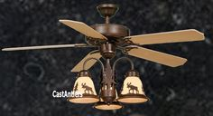 "Standard Size Fans - 52"" Rustic Ceiling Fan w/ Light Kit 