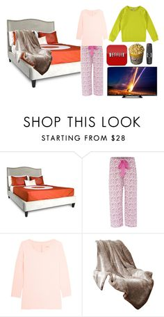 """""""Today's Outfit"""" by bacon-unicorn ❤ liked on Polyvore featuring Jar Designs, Cyberjammies, Calvin Klein Underwear, Madison Park, Sleepy, bed, netflix, popcorn and inbedallday"""