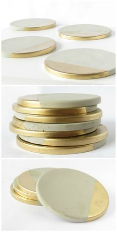 Concrete Coasters with Gold Concrete Coasters with Gold - Set of Four - Four handmade concrete coasters with metallic gold paint detail. Set comes with cork pads to protect furniture surfaces. Cement Art, Concrete Crafts, Concrete Art, Concrete Projects, Concrete Design, Metal Projects, Gold Diy, Metallic Gold Paint, Diy Coasters
