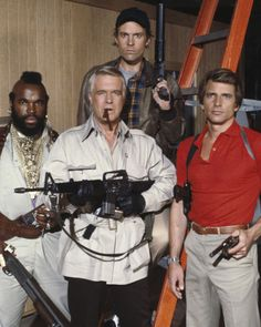 """The A-Team, Hannibal (Lieutenant John Smith), Faceman (Templeton Peck), Murdock (Captain H. """"Howling Mad"""" Murdock), B. (Sergeant First Class Bosco """"B."""" or """"Bad Attitude"""" Baracus)--- one of my favorite shows! 80 Tv Shows, Old Shows, Great Tv Shows, Movies Showing, Movies And Tv Shows, The Ateam, Mejores Series Tv, George Peppard, Nostalgia"""