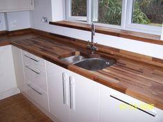European Walnut Worktops with Kitchen Sink