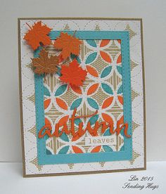 "handmade card: Lil' Inker Autumn Leaves ... quilt print topped with die cut maple leaves and ""autumn"" in script font die cut ...  by quilterlin ... great look!"
