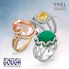 Morganite, emerald and yellow diamond rings are sitting in a tree. Which one of these rings is your favorite? Swing by Bradley Gough Diamonds to meet these rings in person. #morganite #yellowdiamond #emerald #diamondrings