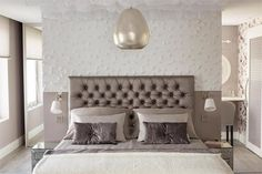 Luxury beige bedroom designed by Milla Alftan