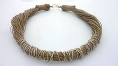 Natural Beige Linen Necklace от Cynamonn на Etsy