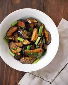chinese eggplant recipe - yum!  i did it with eggplants and green beans, but this is a good base recipe for any veggie