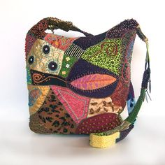 Croton Leaf Hobo Bag Large Beaded Embroidered Crazy by kackleboan, $195.00