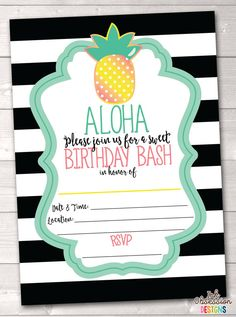 Pineapple Birthday Party Printable Invitation Aloha Birthday Bash