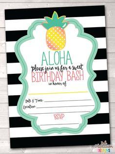 Pineapple Birthday Party Printable Invitation Aloha Birthday Bash