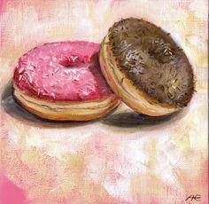 """Donuts"" - acrylics on canvas board -  Anja Essler"