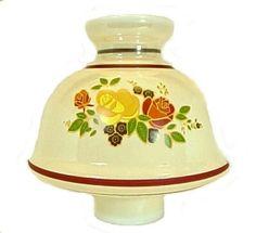 Pole Lamp Chimneys Yellow Rose on White