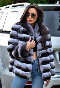 212ae166a6 Women's 100% Real Chinchilla Rex Rabbit Fur Coat Short Cropped Slim Fit  Jacket #fashion