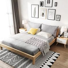 38 comfortable bedroom ideas with the latest 2020 fashion trend budget 2 Small Room Bedroom, Gray Bedroom, Home Decor Bedroom, Bedroom Ideas, Bedroom Wall, Design Bedroom, Bedroom Design On A Budget, Decor Over Bed, Scandinavian Interior Bedroom