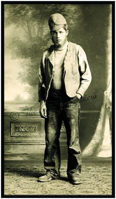 American Working Man Fashion Print - 1900-1910 Vintage Antique Levi Jeans - Levis - Earliest Stormy Kromer Cap