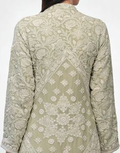 Check out our Sage Chikankari Kurta & Pyjama by ANJUL BHANDARI available at Ogaan Online store at special price. Fine Awadhi hand-embroidered Chikankari in a sage green Indian Attire, Indian Outfits, Chic Outfits, Fashion Outfits, Chikankari Suits, Indian Look, Kurta Designs Women, India Fashion, Fashion 2020