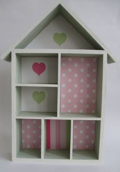 Hand Decorated House Shaped Display Shelf Painted Chalky Green And White Decoupaged With Paper Backing
