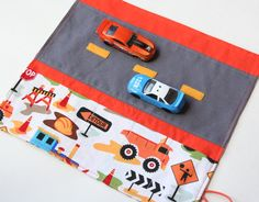 Car Caddy Roll Up w/ Road Play Mat- Perfect size for airplane tray