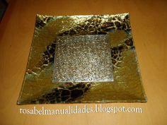 Rosabel manualidades: Platos de cristal decorados
