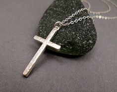 Silver Cross Necklace Large Mens / Womens by SimpleCachet on Etsy