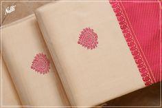 Biege and Pink Kanchipuram Silk Saree with thread motifs and pallu. Cotton Sarees Handloom, Kanjivaram Sarees, Kanchipuram Saree, Cute Baby Girl Pictures, Cotton Sarees Online, Womens Closet, Simple Sarees, Churidar, Baby Girl Dresses
