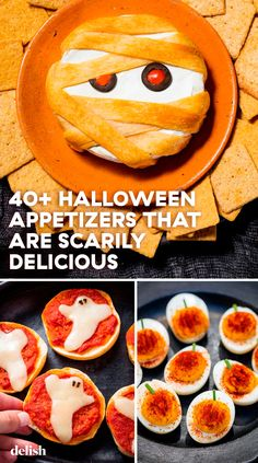 Pre-game your candy haul with these spooky appetizers. Halloween Appetizers, Healthy Halloween, Halloween Food For Party, Thanksgiving Appetizers, Halloween Treats, Happy Halloween, Halloween Makeup, Halloween Desserts, Halloween 2020