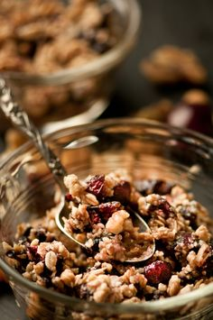 Raw Cherry Crisp: this is so good, similar to granola.  I eat it for breakfast every day.  I didn't have fresh cherries when I first made it so have been using dried dark cherries sprinkled on top when done dehyrdating -- delish!