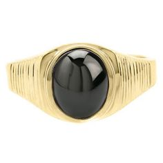 Men's Oval-Cut Black Star Sapphire Gemstone Simple Yellow Gold Ring Available Exclusively at Gemologica.com