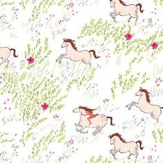 """Stoff Tiermotive - Sarah Jane """"Summer Ride"""" Pferde - ein Designerstück von…"""