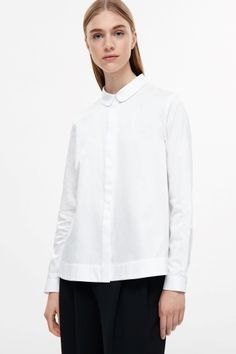 COS image 1 of A-line poplin shirt in White