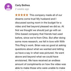 """Wow, thanks so much for the heartfelt review, Carly + Chris!  ❤ Check out the full review below: . . . """"This company made all of our dreams come true! My husband and I discussed saving room in the budget for a video and feel beyond pleased we did so. At first we thought we should just go with an Ohio based company that friends had used before, since we're from Ohio. But after doing some more research, we fell in love with With This Ring's work. Brian was so good at asking questions about…"""