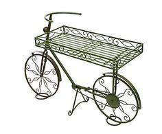 Bicicleta decorativa con soporte para plantas de forja - verde