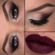 Beautiful Neutral Smokey Eye Makeup - Winged Eyeliner - Lashes - Dark Red Lips fall make up Pretty Makeup, Love Makeup, Makeup Inspo, Makeup Inspiration, Makeup Looks, Makeup Ideas, Stunning Makeup, Autumn Inspiration, Makeup Trends