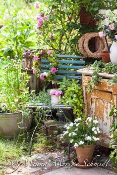 Love this idea of old chair & dresser covered in plants to pass by on the way to the end of the garden!